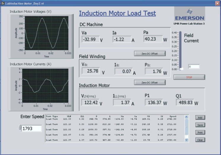 Software Interface For The Induction Machines Experiment